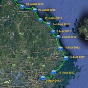 Suède. Depuis l'île de Hälstensörarna dans le comté d'Uppsala le 28 Juillet 2012 jusqu'à l'archipel de Stokholm le 8 Août 2012.
