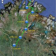 Norvège - Finlande, depuis Mehamn jusqu'au lieu dit d'Ylläsjarvi.