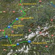 Suisse. Depuis Bertenheim le 8 Septembre 2012 jusqu'à  Brig-Glis le 16 Septembre 2012.