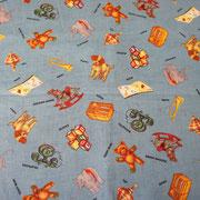Stofcode A008, jeansblauwe katoenen stof met retro speelgoed