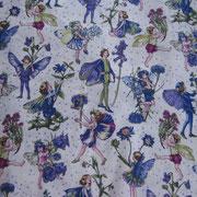 Stofcode A027, katoenen stof met elfjes paars met glitter