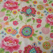 Stofcode A012, creme katoenen stof met grote bloemen