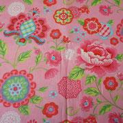 Stofcode A011, roze katoenen stof met grote bloemen