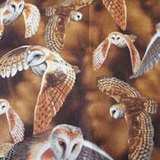 Stofcode A006, bruine katoenen stof met uilen