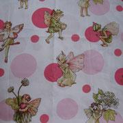 Stofcode A026, katoenen stof met elfjes roze met glitter