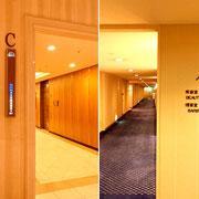 エレベーターC[左]をご利用のうえ7階へ[右]