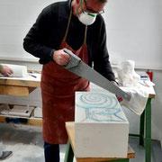 Ateliernutzung | Skulpturales Arbeiten mit Faisal al Hasan | Foto: Teilnehmer Horst Busch | März 2020