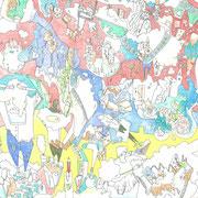 「水と卵で空想ごっこ」2014.11(409mm×318mm)