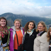 Sarah, Jessica, Fatima, Mrs. Simpson, and Tia on boat ride across Lake Lucerne