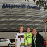 McKenna, Katie and Alayna in front of Alliance Soccer Stadium, Munich