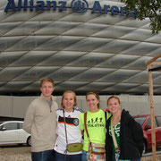 Wyatt, McKenna, Katie, Alayna in front of Alliance Soccer Stadium, Munich