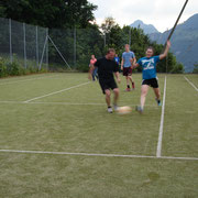 Jeff Luzier leads fierce soccer game near our Swiss hotel in Seelisberg