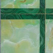 Imitation onyx vert et malachite-filet cuivre jaune