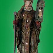 Saint  Martin en évêque, portant une église - Bois polychrome (début du XVIe S.)