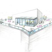 Entwurf für eine Roof-Top Bar einer Münchner Eventlocation