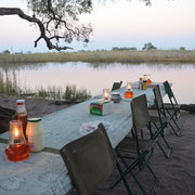 Abendessen Luxus Camping Botswana