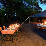 Abendessen Komfort-Camping Botswana