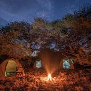 Camping in Botswana bei Nacht