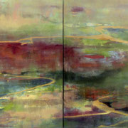 Perfume River, 2013, oil and acrylic on canvas, diptych, 60 x 160 cm