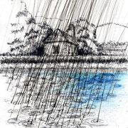 Der Regen, 2018, Tusche, Farbstifte, 21 x 29,7 cm