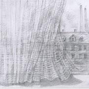 Die Gardine, 2019, Bleistift, 29,7 x 21 cm