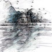 Der Schwarm, 2018, Tusche, Tuschestifte, Gouache, Farbstifte, 21 x 29,7 cm