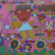 小橋口 由希  Yuki Kohashiguchi          色鉛筆・黒画用紙  coloredpencil on black paper