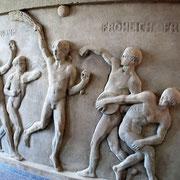 erhaltenes Sandsteingemälde im Haus