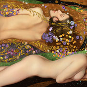 "AquaMossaLa  Homage to Klimt  Photograph and digital pigments  Jeff Wack  $2000  32""x55"""