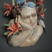 "Waiting for you II  Porcelain, Glaze, Glass  Bernadette Esperonza Torres  $2000 14""x14""x7"""