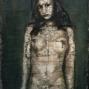 "Standing Nude plaster on Burlap  Stephen Maffin  23""x41""  $2800"