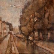 """""""Passeggiata sul Lungonaviglio"""", olio su tavola, cm. 30 x 40 - € 300,00"""