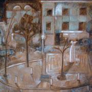 """""""Notturno in Piazza della Repubblica"""" - tecnica mista su carta cm. 40 x 30 – Siena, collezione privata"""