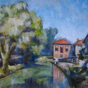 """""""Luci e colori lungo la Martesana"""" - olio su tavola cm. 30 x 40 - Bresso, collezione privata"""
