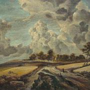 """""""Paesaggio"""" (copia d'arte da Van Ruysdael) - acrilico su tavola cm. 24 x 30 - Vignate, collezione privata"""