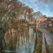 """""""Sul naviglio"""" (vedi scheda) - tecnica mista su tela cm. 50 x 50 - Carugate, collezione privata"""