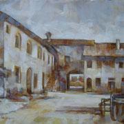 """""""In cascina a Cernusco""""- olio su tela cm. 24 x 30 - Cernusco sul Naviglio, collezione privata"""