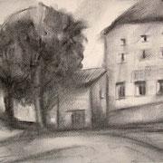 """In Piazza Verdi a Cavalese"" - carboncino su carta cm. 21 x 29,7 – € 60,00"