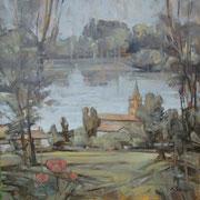"""""""Cavenago d'Adda"""" - olio su tela cm. 60 x 60 - Monza, collezione privata"""