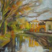 """""""Impressione - tramonto sulla Martesana"""" - olio su cartone cm. 18 x 24 - Monza, collezione privata"""