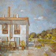 """Piazza Vecchia Filanda"" - olio su tela cm. 50 x 60 - € 230,00"