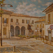 """""""Piazza IV Novembre"""", olio su tela, cm. 30 x 40  - € 250,00"""