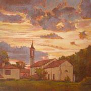 """""""Tramonto a Cernusco"""" - olio su tela cm. 50 x 60 – Cernusco sul Naviglio, collezione privata"""