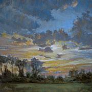 """""""Campagna lombarda, tramonto a Pioltello"""" - olio su tela cm. 60 x 60 - Cernusco sul Naviglio, collezione privata"""