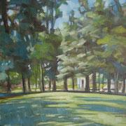 """""""Mattina al Parco della Pieve a Cavalese"""" - olio su cartone telato cm. 24 x 30 - Siena, collezione privata"""