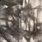 """""""Notturno alla Cascata a Cavalese"""" - carboncino su carta cm. 21 x 29,7 – € 70,00"""