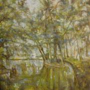 """""""Al laghetto dell'Uboldo"""" - olio su tela cm. 60 x 60 – € 300,00"""