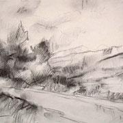 """""""Val di Fiemme a Cavalese"""" - carboncino su carta cm. 21 x 29,7 – € 70,00"""