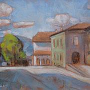 """""""Piazza Verdi a Cavalese"""" - olio su cartone telato cm. 18 x 24 - Monza, collezione privata"""