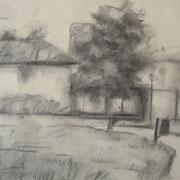 """""""Uscendo dalla biblioteca"""" - carboncino su carta cm. 21 x 29,7 – € 70,00"""